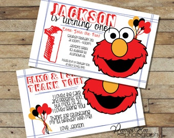 Elmo Birthday Party Invitation (DIGITAL FILE)