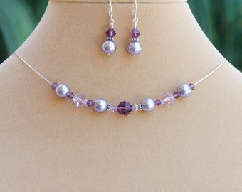 Mauve Bridesmaid Gift Mauve Jewelry Set of 2 Piece Mauve Pearl Necklace Earring Set with Swarovski® Crystal Purple Jewelry Set Plum Lilac