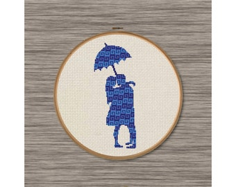 PDF Cross Stitch Pattern: Umbrella Couple