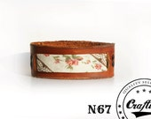 Leather Bracelet with flowers patern, Textile cuff, Spring Bohemian Boho jewellry, Flowers Bangle, Free shipping armband, CraftiveLeather
