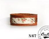 Leather Bracelet with flowers patern, Textile cuff, Spring Bohemian Boho jewellry, Flowers Bangle, Free shipping armband, CraftiveLeather