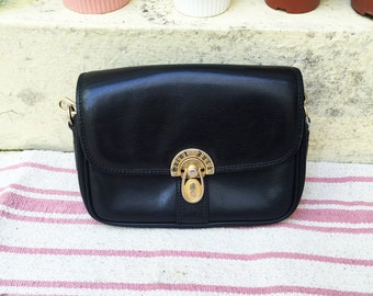 Saint Jack Golden lock button Leather bag, Black, 90s, vintage