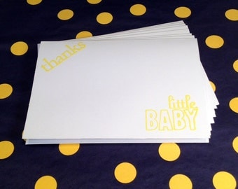 Baby Thank You - Baby Shower - Folded Note Cards and Envelopes - Yellow and White - Set of 8
