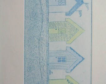 Blue and Yellow Beach Huts Etching Prints