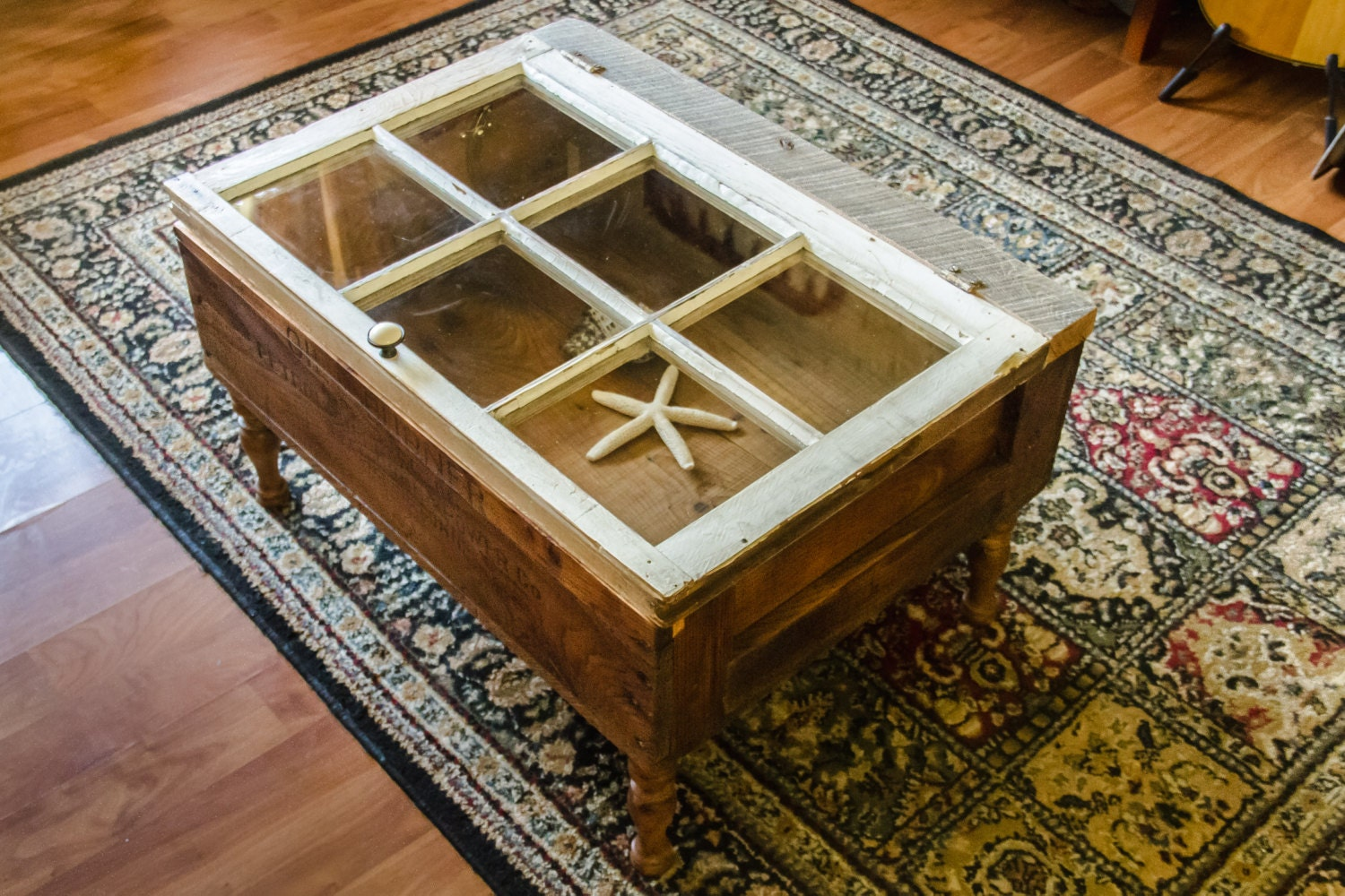 Old Window Coffee Table With Wooden Crate For By Thereclaimedlight