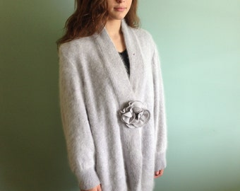 Angora coat lined in silk fabric