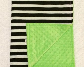 "Custom Baby Blanket: Boardwalk Collection - 100% Cotton & Minky 29""x31"""