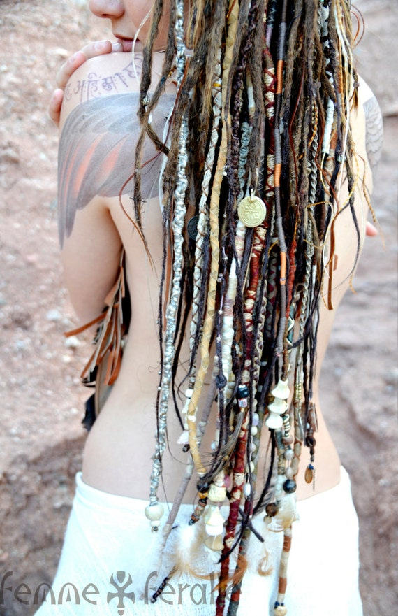 MEDICINE WOMAN • Bohemian Hair Wraps • Temporary Dreadlocks • Hippie Boho Native Tribal Hair Wraps • Leather Beaded Braids & Dread Falls