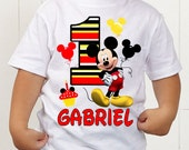 Mickey T-Shirt ~ Mickey Mouse Birthday Shirt ~ PERSONALIZED with Name & Age