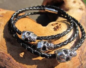 Skull Bracelet, Leather Skull Braclet, Gift For Men, Leather Anniversary, Necklace, Men's Bracelet. Magnetic Clasp