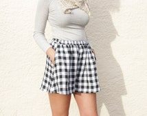 High Waisted Cotton Shorts. Women's Checkered/ Gingham Short Culottes.