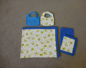 Blue Flannel baby blanket set with Frogs