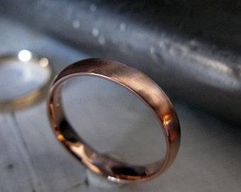 14K Rose Gold Wedding Band Size 7 3/4 Rose Gold Wedding Ring Comfort Fit Domed 4mm Wedding Ring Unique Mens Wedding Band Mens Wedding Rings