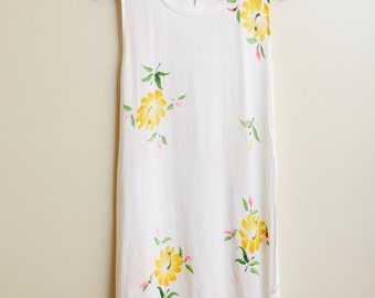1990s Aan Collection White Hawaiian Summer Dress • M [RS17]