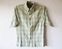 Pastel Plaid Mens Shirt Light Green  Wrinkled Boyfriend Button up Short Sleeve Checked Shirt Cotton Casual Mens Work Wear Size Large