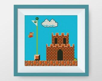 BUY 2, GET 1 FREE! Super Mario Cross Stitch Pattern, Retro Super Mario, pdf counted cross stitch pattern, Instant Download, #P112