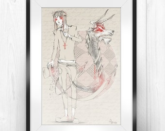 "Printable Digital Art, Illustration, Wall Art, Character Art, 8""x12"" and 13""x20"""