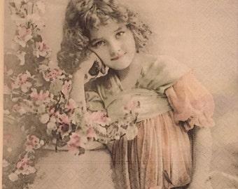 "ONE imported decoupage napkin, Sagen Vintage Girl Posing, Norway, 13"" x 13"""