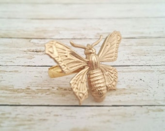 Butterfly Adjustable Ring Gold Brass Butterfly Ring