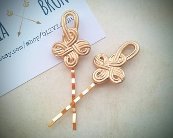 Celtic Knot Bobby Pins Gold Celtic Knot Hair Pins Hair Clips Hair Accessories Celtic Hair