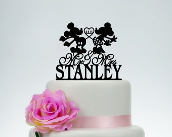 Custom Cake Topper,Wedding Cake Topper,Personalized Cake Topper,Mickey and Minnie Cake Topper,Bride and Groom Topper,Disney Cake Topper C066