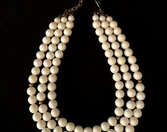 60's 3 Strand White and Gold Bead Necklace                    VG1470
