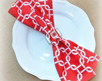 RED & WHITE Modern Cloth Lunch Napkins ~ Set of 8, Reversible, Chainlink, Spring, Summer, Eco-Friendly