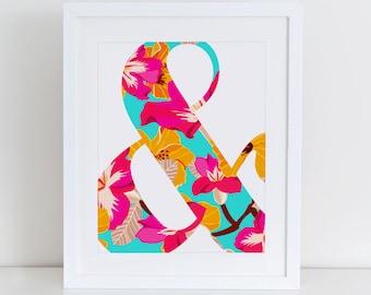 Ampersand Floral Art Print, Inspirational Art Print, Instant Download, Nursery Art Print, Abstract Print, Floral Art Print, Ampersand Print