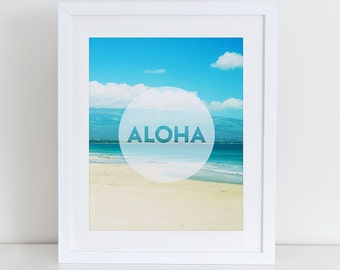 Aloha Print, Aloha Printable, Typography Art, Summer Print, Hawaiian Art, Hawaii, Instant Download, Beach Art Print, Surf Art