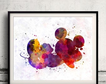 Mickey Mouse 8x10 in. to 12x16 in. Fine Art Print Glicee Disney Poster Watercolor Nursery Gift Room Children's Art Illustration - SKU 1069