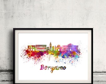 Bergamo skyline in watercolor over white background with name of city 8x10 in. to 12x16 in. Poster Wall art Illustration Print  - SKU 0528