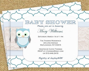 Blue Owl DIY Boy Baby Shower Invitation- PDF - Instant Download