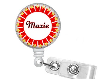Personalized Starburst , Retractable ID Badge Reel  (D_180)