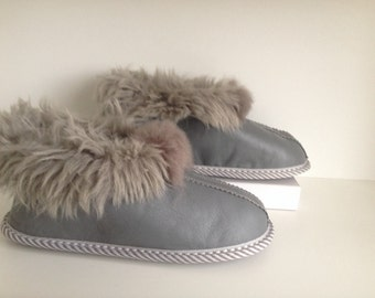 Women's slipers, leather slippers, lamb fur, gray color