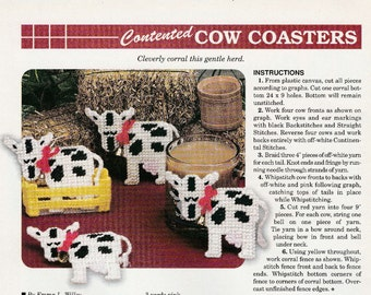 Mooooooooooo Cow Coaster Set in Plastic Canvas