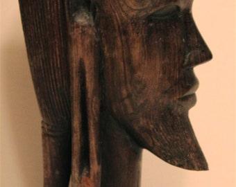 Vintage African Tribal Head- Ebony Wood Carving/Sculpture