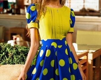 Bright cute dress, bridesmaids dresses, sundress, party dress, summer dress, 1950s dress, polka dot dress, yellow dress, blue dress