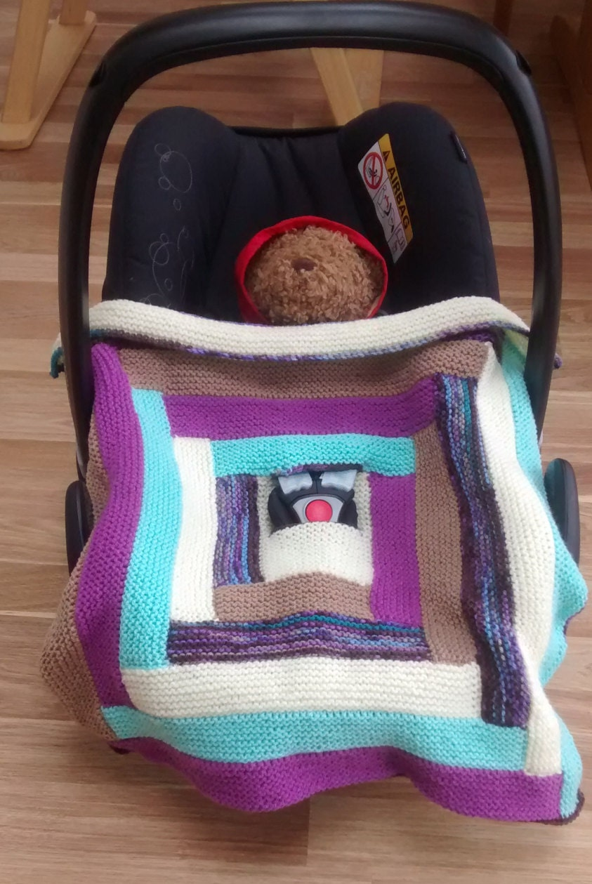 Hand Knitted Car Seat Blanket Baby Blanket Knitted Baby Girl