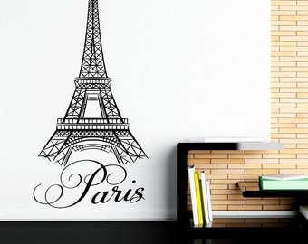 Paris Wall Decals Vinyl Stickers- Paris Letters Wall Art Vinyl Lettering Eiffel Tower Decal Wall Decor Bedroom Living Room Art C032