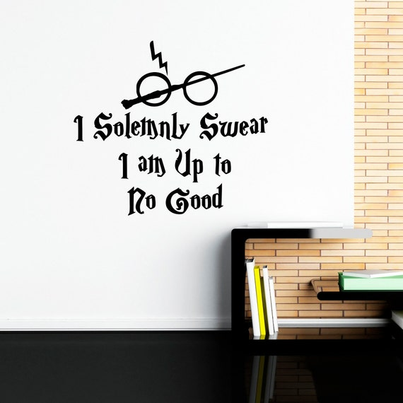 Harry potter wall decal quote i solemnly swear hogwarts wall for Decoration murale harry potter
