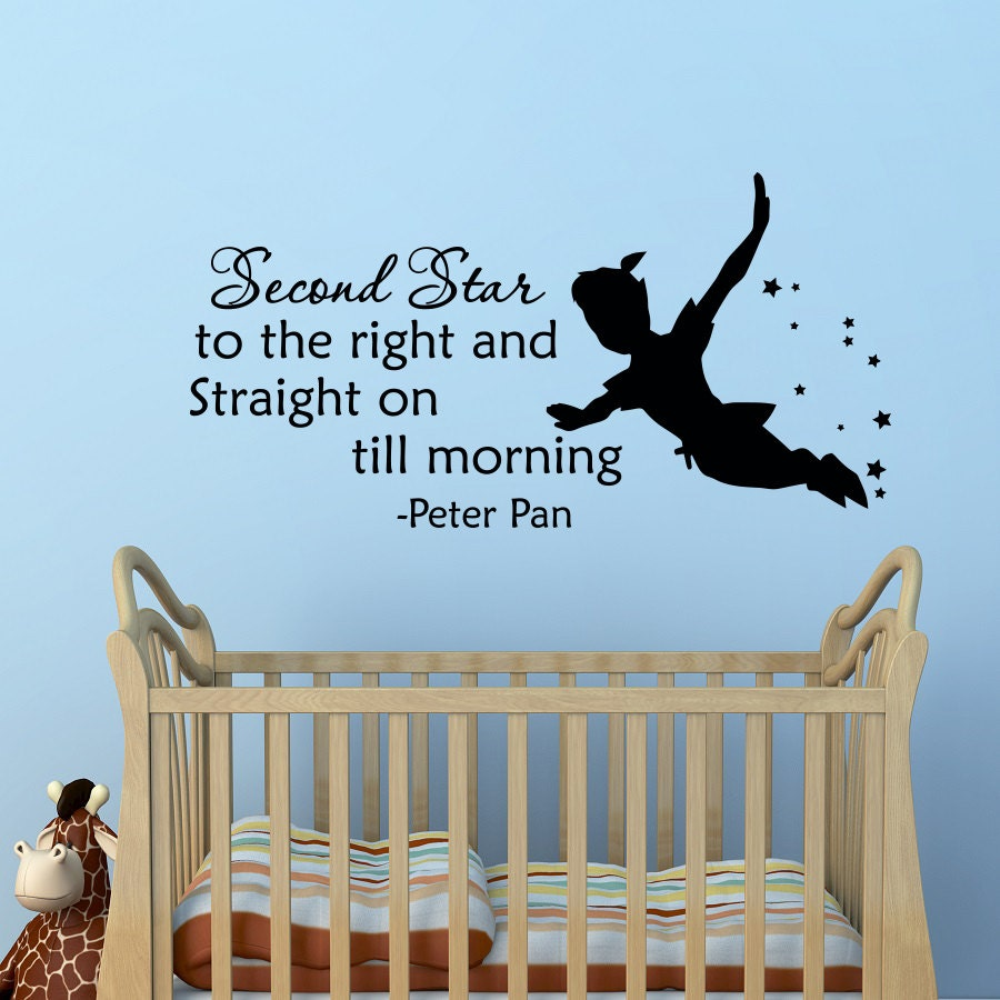 Peter Pan Quotes: Peter Pan Silhouette Wall Decal Quote Second Star By