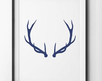Deer Antler Navy Blue Wall Art, Deer Print Minimalist Flat Home Decor Wall Antlers, Ocean Blue Geometric Deer Wall Art, Digital Print.