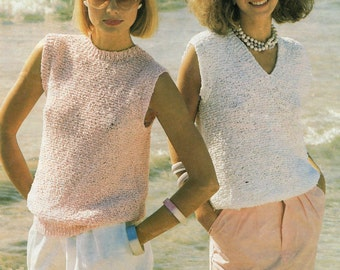 Ladies Top Knitting Pattern V Neck and Round Neck Styles 32 - 42 inches