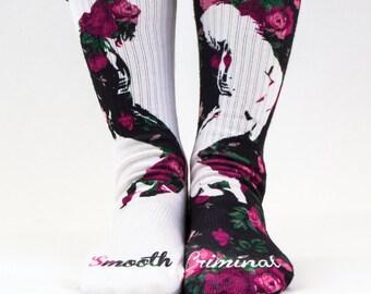Samson® MJ Flowers Sublimation Hand Printed Socks Michael Jackson Singer Music Star Quality Print UK