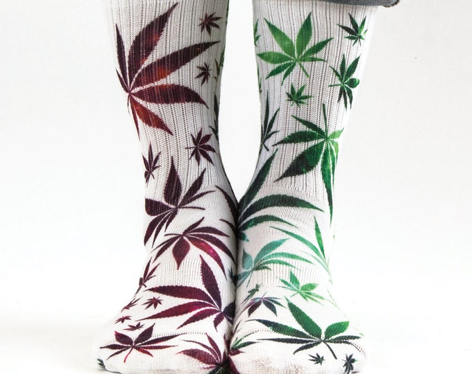 Samson® Ganja Galaxy Sublimation Hand Printed Socks Weed Cannabis Marijuana Marihuana Pot Grass Quality Print UK