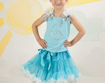 Cinderella Birthday Number Inspired Rhinestone Princess Pettiskirt Set Ages 1-8, Little Girl, Toddler, Big Girl