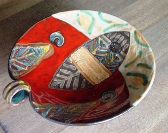 Unique Pottery Fruit Bowl, Wedding gift, Ceramics and Pottery, Ceramic Serving Tray. Handmade Wheel Thrown Bowl