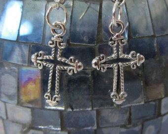Pair of Silver Finish Hollow Cross Drop Earrings
