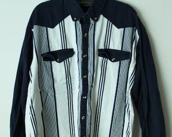 Vintage Striped Western Shirt Navy Blue White Spindle River L