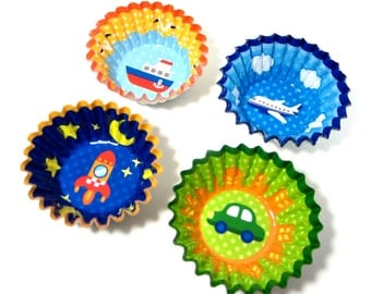Travel Cupcake Liners / 32 x Boy's Birthday Party Muffin Pastry Cups / Rocket, Car, Airplane + Boat Non Stick Transportation Baking Cups